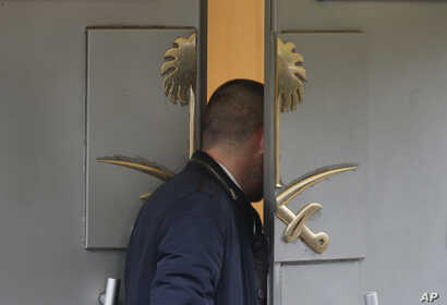 A man enters Saudi Arabia's consulate in Istanbul, Oct. 19, 2018.  investigators are looking into the possibility that the remains of missing Saudi journalist Jamal Khashoggi may have been taken to a forest in the outskirts of Istanbul.