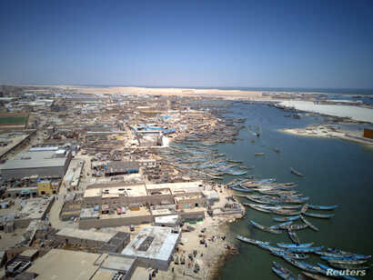 An aerial view of fishing boats moored in Nouadhibou, Mauritania, April 15, 2018.
