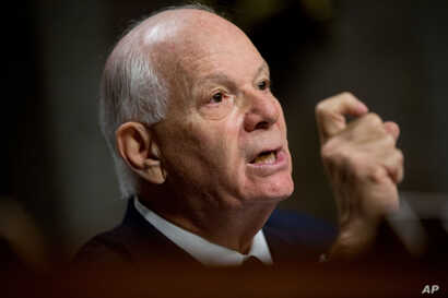 FILE - Sen. Ben Cardin, D-Md. is seen during a Senate Foreign Relations Committee hearing on Capitol Hill to review the Iran nuclear agreement, July 23, 2015.