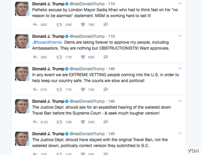 Several of President Donald Trump's tweets on Monday morning, June 5, 2017.