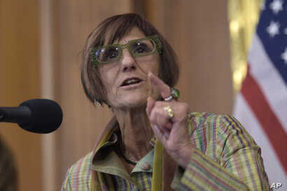 FILE - Rep. Rosa DeLauro, D-N.Y., speaks during a news conference on Capitol Hill in Washington.