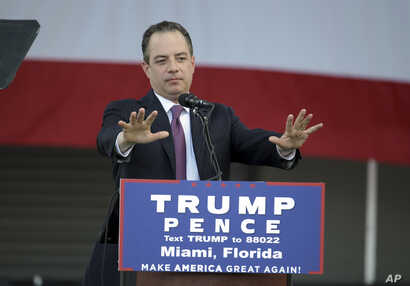 FILE - Reince Priebus, chairman of the Republican National Committee, speaks at a campaign rally for then presidential candidate Donald Trump at Bayfront Park Amphitheater, Nov. 2, 2016, in Miami, Florida.