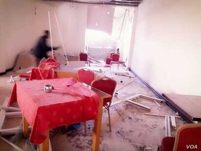 The scene inside Mogadishu's Dayah hotel in Somalia, Jan. 25, 2017, after an attack by suspected Al-Shabab militants.