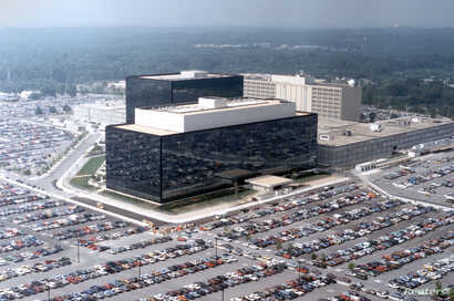 An undated aerial handout photo shows the National Security Agency (NSA) headquarters building in Fort Meade, Maryland.