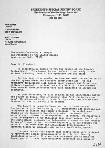 This is the first page of a cover letter to President Reagan from members of the President's Special Review Board concerning their report on the National Security Council, seen Feb. 26, 1987.  John Tower, Edmund Muskie and Brent Scowcroft presented t...