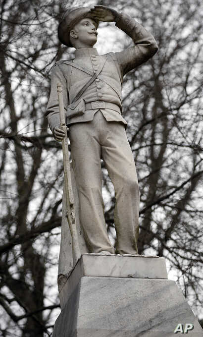 This Feb. 23, 2019, photo shows the Confederate soldier monument at the University of Mississippi in Oxford, Miss. Student government groups want the university's administrators to move the statue to a Confederate cemetery behind the Tad Smith Colise