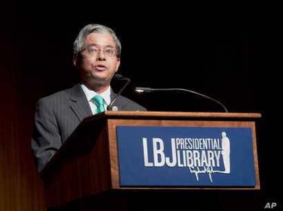 FILE - Pham Quang Vinh, Vietnamese ambassador to the U.S., addresses the Vietnam War Summit at the LBJ Presidential Library in Austin, Texas, April 28, 2016.