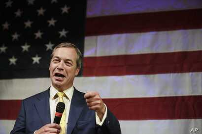 British politician Nigel Farage speaks at a rally for U.S. Senate hopeful Roy Moore,  Sept. 25, 2017, in Fairhope, Alabama.