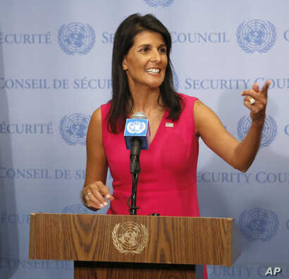 United States Ambassador to the United Nations Nikki Haley speaks to reporters at U.N. headquarters, Aug. 25, 2017.