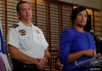 "Washington, D.C., Mayor Muriel Bowser and Metropolitan Police Department Chief Peter Newsham answer questions from reporters about the city's preparations for the white nationalist-led rally marking the one-year anniversary of 2017 Charlottesville ""U..."