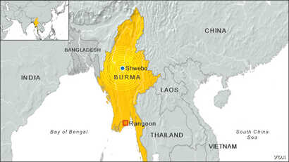Burma earthquake location