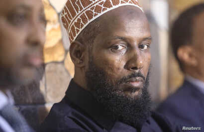 FILE - Former al Shabaab leader Mukhtar Robow attends a news conference in Baidoa, Somalia, Nov. 4, 2018.