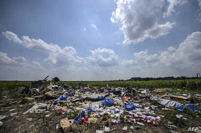 TOPSHOTS-- AFP PICTURES OF THE YEAR 2014 --A photo taken on July 23, 2014 shows the crash site of the downed Malaysia Airlines flight MH17, in a field near the village of Grabove, in the Donetsk region. The first bodies from flight MH17 arrived in th...