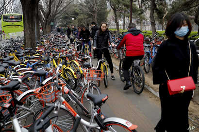 Residents ride bicycles from bike-sharing company Ofo try to pedal through a sidewalk crowded with bicycles from the bike-sharing companies Ofo, Mobike and Bluegogo, near a bus stand in Beijing, China, March 23, 2017. As many as 2.2 million of these ...