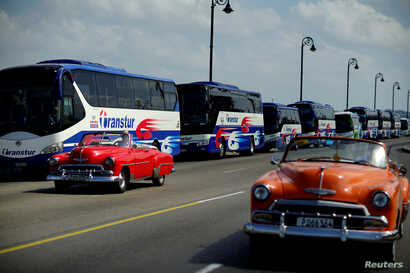 Vintage cars pass by a fleet of Chinese-made Yutong buses parked at the sea front Malecon in Havana, Feb. 10, 2017.