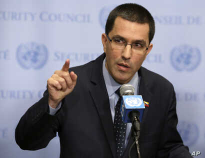 Venezuela's Minister of Foreign Affairs Jorge Arreaza speaks to reporters at United Nations headquarters, Aug. 25, 2017.