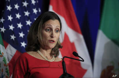 Canadian Minister of Foreign Affairs Chrystia Freeland, speaks during the conclusion of the fourth round of negotiations for a new North American Free Trade Agreement (NAFTA) in Washington, Oct. 17, 2017.
