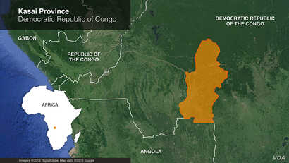 Map of Kasai Province, Democratic Republic of Congo