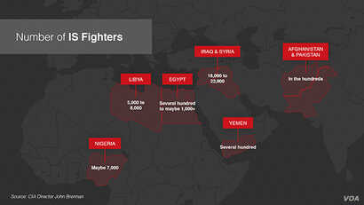 Graphic of the number of Islamic State fighters in highlighted locations around the world.
