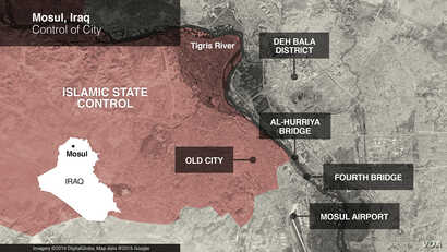 Map of areas of control in Mosul, Iraq