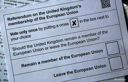 Illustration picture of postal ballot papers in London ahead of the June 23 BREXIT referendum when voters will decide whether Britain will remain in the European Union, June 1, 2016.