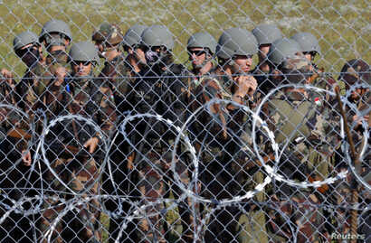 Hungarian soldiers arrive at the border near Roszke, Hungary, September 14, 2015.