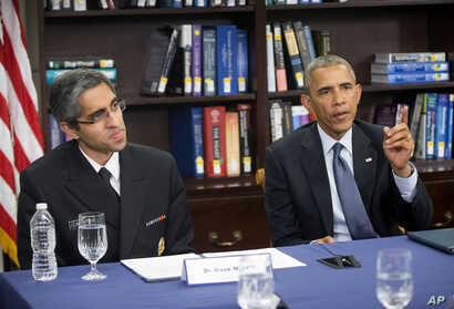 President Obama and US Surgeon General Dr. Vivek Murthy discuss the impact of climate change on public health at Howard University in Washington, Tuesday, April 7, 2015.