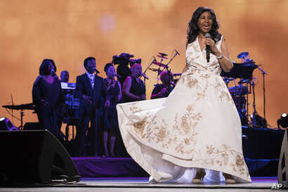 "Aretha Franklin performs at the world premiere of ""Clive Davis: The Soundtrack of Our Lives"" at Radio City Music Hall, April 19, 2017, in New York."