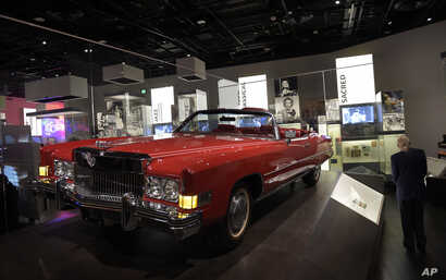 Chuck Berry's 1973 Cadillac Eldorado is on display at the National Museum of African American History and Culture in Washington, Sept. 14, 2016.