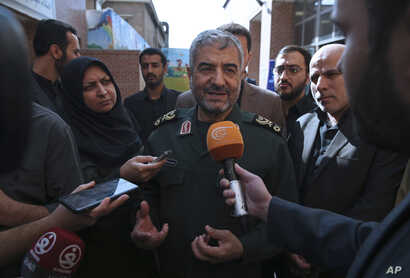 "The head of Iran's paramilitary Revolutionary Guard Gen. Mohammad Ali Jafari speaks with journalists after he addressed a conference called ""A World Without Terror,"" in Tehran, Iran, Oct. 31, 2017."