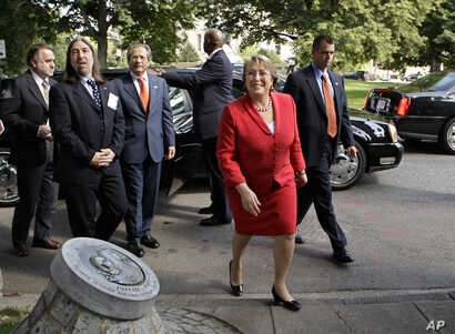 Chile's President Michelle Bachelet arrives to commemorate Chilean political figure and activist Orlando Letelier who was assassinated in 1976 by secret agents of the government of Chilean strongman Augusto Pinochet, Tuesday, June 23, 2009, in Washin...