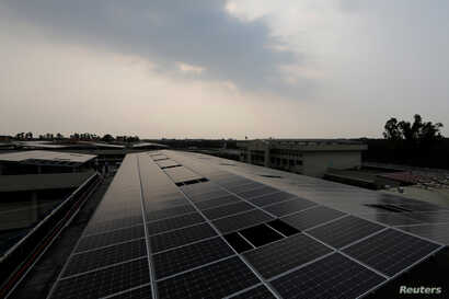 Solar panels on the roof of Pingtung prison in Pingtung, Taiwan, Feb. 15, 2017.