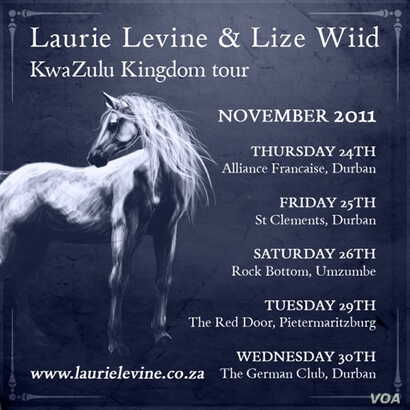 A poster advertising performances by Levine and Wiid