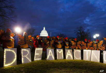 Demonstrators rally in support of Deferred Action for Childhood Arrivals (DACA) outside the Capitol, in Washington, Jan 21, 2018.