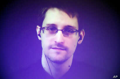 FILE - Former U.S. National Security Agency contractor Edward Snowden.