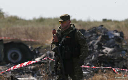 An armed pro-Russian separatist guards a crash site of the Malaysia Airlines Flight MH17 near the village of Hrabove, Donetsk region, July 24, 2014.