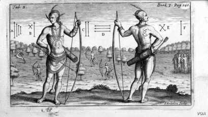 Indians in Virginia. Engraving by Theodore de Bry, 1590, based on a watercolor by John White in 1585.