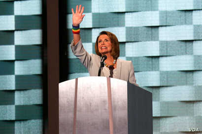 Nancy Pelosi addresses the fourth night of the Democratic National Convention in Philadelphia, July 28, 2016. (A. Shaker/VOA)