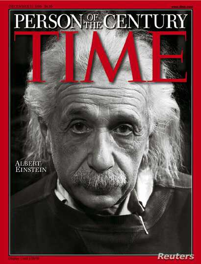 "Albert Einstein, whose theories on space, time and matter helped unravel the secrets of the atom and of the universe, was chosen as ""Person of the Century"" by Time magazine on Dec. 26, 1999."