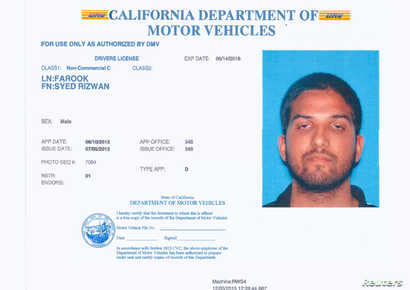 Syed Rizwan Farook is pictured in his California driver's license, in this undated handout provided by the California Department of Motor Vehicles, Dec. 3, 2015.