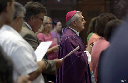Bishop Ronald Gainer, of the Harrisburg Diocese, arrives to celebrate mass at the Cathedral Church of Saint Patrick in Harrisburg, Pennsylvania. Aug. 17, 2018.
