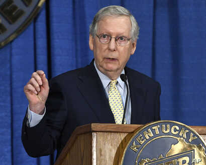 Senate Majority Leader Mitch McConnell of Ky. speaks during the Kentucky Farm Bureau Country Ham Breakfast, Thursday, Aug. 24, 2017, in Louisville, Ky.