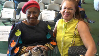 Patience Ozokwo, left, aka 'Mama G' received the 2016 African Film Legend Award at the festival. (G. Flakus/VOA)