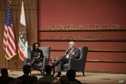 Secretary of State Rex Tillerson, right, and former Secretary of State Condoleeza Rice speak to the Hoover Institution at Stanford University in Stanford, Calif., Wednesday, Jan. 17, 2018.