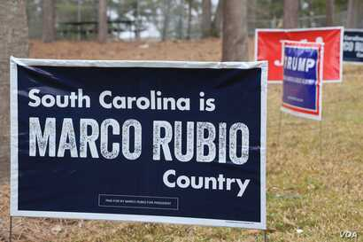 Campaign signs stand near a polling site at the Brockman School in Columbia, S.C., Feb. 20, 2016 (B. Allen/VOA)