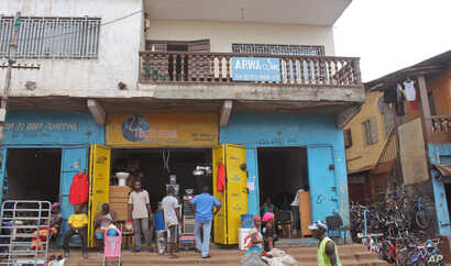 The Arwa clinic, center,  that was closed after the clinic Doctor got infected by the Ebola virus in the capital city of Freetown, Sierra Leone, July 15, 2014..