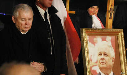 FILE - Jaroslaw Kaczynski  leader of ruling party Law and Justice Party attends a remembrance ceremony for the 2010 plane crash that killed Poland's President Lech Kaczynski and 95 others in Smolensk, in front of the Presidential Palace in Warsaw, Po...