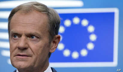 European Council President Donald Tusk speaks during a media conference at an EU summit in Brussels, June 29, 2018.