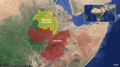Oromia and Amhara regions of  Ethiopia