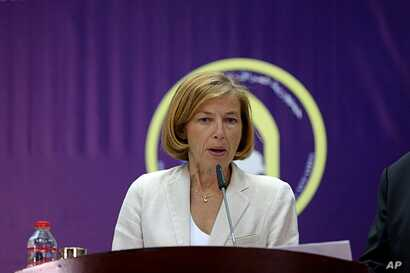 French Defence Minister Florence Parly speaks during a press conference in Baghdad, Iraq, Aug. 26, 2017.